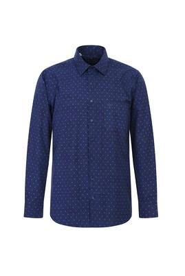 Erkek Giyim - KOYU LACİVERT XL Beden Uzun Kol Regular Fit Desenli Gömlek