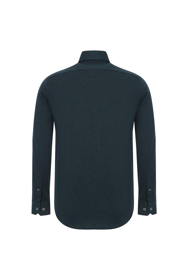 Uzun Kol Slim Fit Örme Gömlek