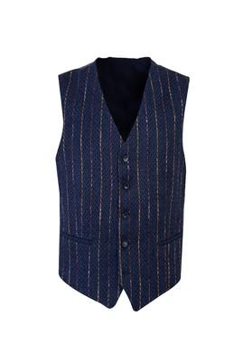 Erkek Giyim - AÇIK MAVİ 48 Beden Desenli Klasik Yelek