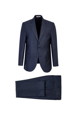 Erkek Giyim - KOYU LACİVERT 62 Beden Kuşgözü Klasik Takım Elbise