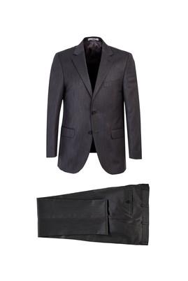 Erkek Giyim - ORTA FÜME 58 Beden Kuşgözü Klasik Takım Elbise