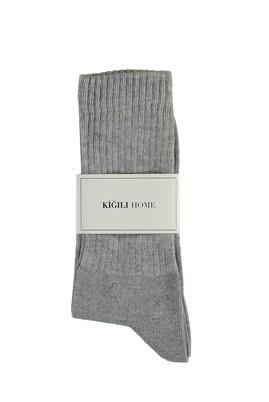 Erkek Giyim - ORTA GRİ MELANJ 40-44 Beden Spor Soket Çorap