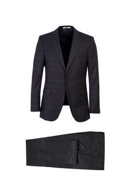 Erkek Giyim - ORTA GRİ 52 Beden Regular Fit Ekose Takım Elbise