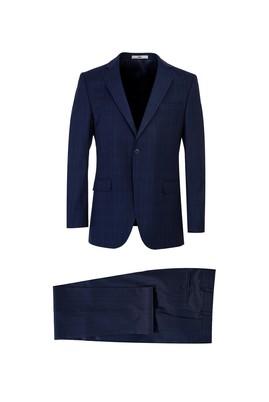 Erkek Giyim - AÇIK LACİVERT 48 Beden Ekose Klasik Takım Elbise