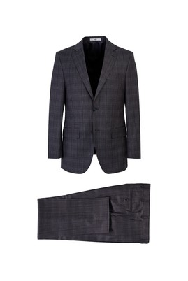 Erkek Giyim - AÇIK GRİ 64 Beden Regular Fit Ekose Takım Elbise