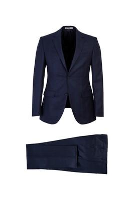 Erkek Giyim - KOYU LACİVERT 46 Beden Ekose Slim Fit Takım Elbise
