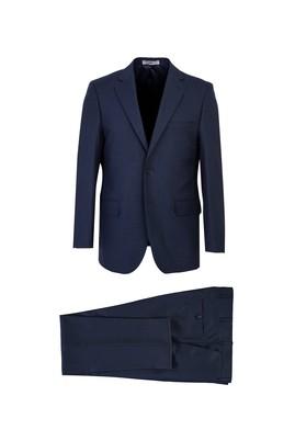 Erkek Giyim - KOYU LACİVERT 54 Beden Kuşgözü Klasik Takım Elbise