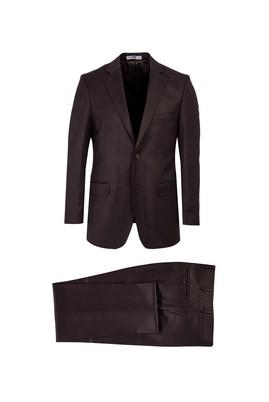 Erkek Giyim - ORTA KAHVE 48 Beden Kuşgözü Klasik Takım Elbise