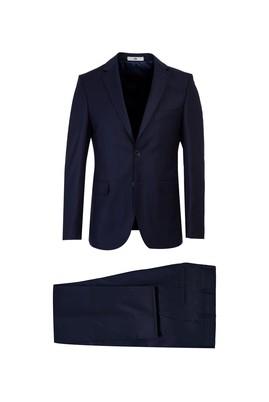 Erkek Giyim - KOYU LACİVERT 52 Beden Çizgili Slim Fit Takım Elbise
