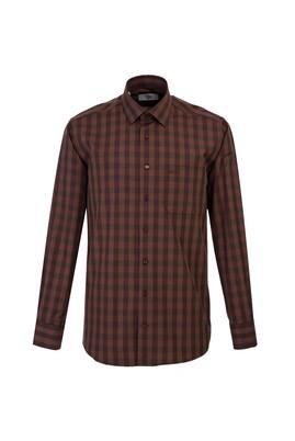 Erkek Giyim - KİREMİT 4X Beden Uzun Kol Regular Fit Ekose Gömlek