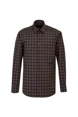 Erkek Giyim - KOYU YEŞİL XL Beden Uzun Kol Ekose Klasik Gömlek