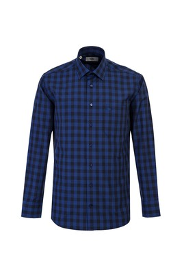 Erkek Giyim - KOYU MAVİ XL Beden Uzun Kol Regular Fit Ekose Gömlek