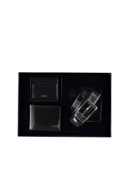 Erkek Giyim - Siyah STD Beden 3'lü Kemer & Cüzdan & Kartlık Set