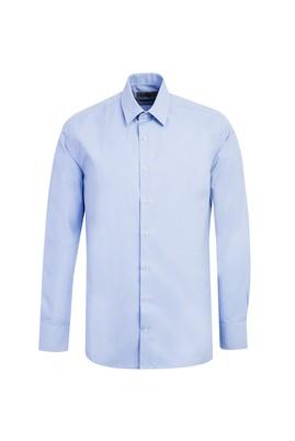 Erkek Giyim - KOYU MAVİ L Beden Uzun Kol Desenli Slim Fit Gömlek