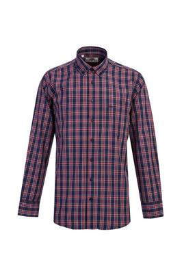 Erkek Giyim - KOYU LACİVERT M Beden Uzun Kol Regular Fit Ekose Gömlek