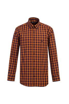 Erkek Giyim - ORTA TURUNCU M Beden Uzun Kol Regular Fit Ekose Gömlek