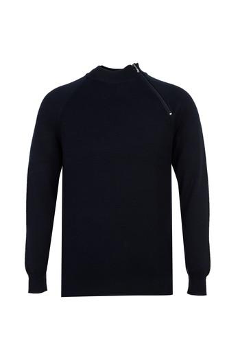 Erkek Giyim - Fermuarlı Regular Fit Triko Kazak