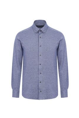 Erkek Giyim - AÇIK LACİVERT M Beden Uzun Kol Slim Fit Örme Gömlek