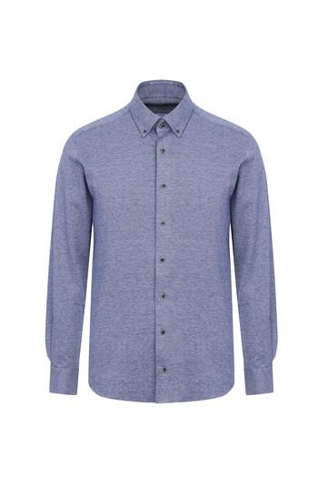 Erkek Giyim - Uzun Kol Slim Fit Örme Gömlek