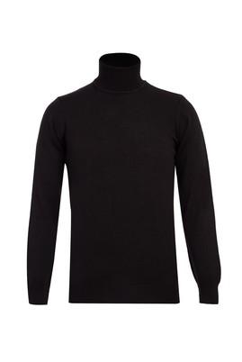 Erkek Giyim - Siyah XL Beden Balıkçı Yaka Slim Fit Triko Kazak