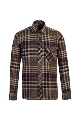 Erkek Giyim - ORTA HAKİ L Beden Uzun Kol Ekose Oduncu Gömlek