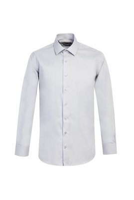 Erkek Giyim - ORTA GRİ L Beden Uzun Kol Slim Fit Non Iron Gömlek