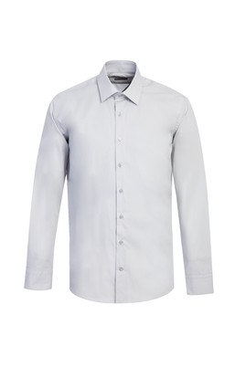 Erkek Giyim - ORTA GRİ L Beden Uzun Kol Slim Fit Gömlek