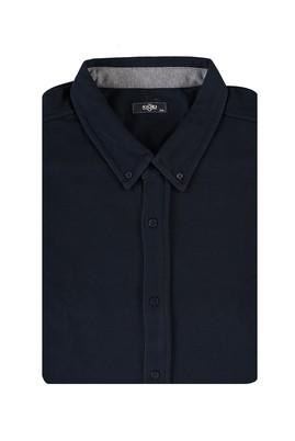 Erkek Giyim - LACİVERT 5X Beden King Size Düğmeli Sweatshirt