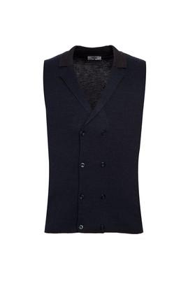 Erkek Giyim - ORTA ANTRASİT S Beden Yünlü Düğmeli Kruvaze Yelek