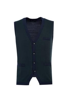 Erkek Giyim - PETROL 3X Beden Regular Fit Düğmeli Yelek