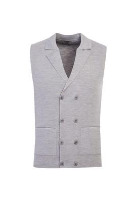 Erkek Giyim - AÇIK GRİ L Beden Yünlü Slim Fit Yelek