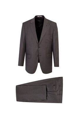 Erkek Giyim - ORTA KAHVE 60 Beden Yünlü Kuşgözü Klasik Takım Elbise