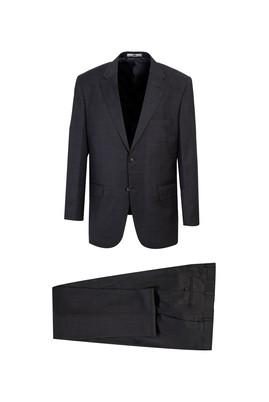 Erkek Giyim - AÇIK ANTRASİT 58 Beden Yünlü Kuşgözü Klasik Takım Elbise