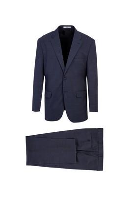 Erkek Giyim - KOYU MAVİ 58 Beden Yünlü Kuşgözü Klasik Takım Elbise