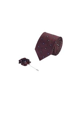 Erkek Giyim - KOYU BORDO  Beden 2'li Kravat Yaka İğnesi Set