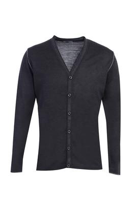 Erkek Giyim - AÇIK ANTRASİT 3X Beden Yünlü Düğmeli Triko Hırka