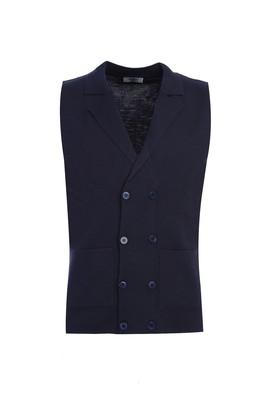 Erkek Giyim - LACİVERT L Beden Yünlü Slim Fit Yelek