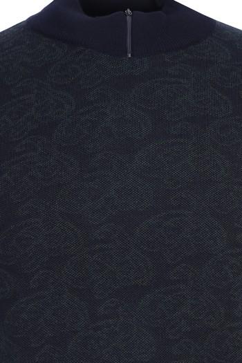 Erkek Giyim - Bato Yaka Desenli Regular Fit Triko Kazak