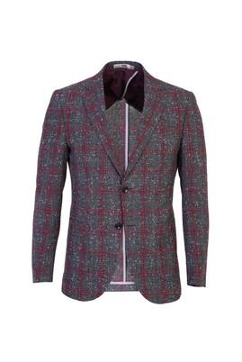 Erkek Giyim - KOYU BORDO 44 Beden Ekose Slim Fit Ceket