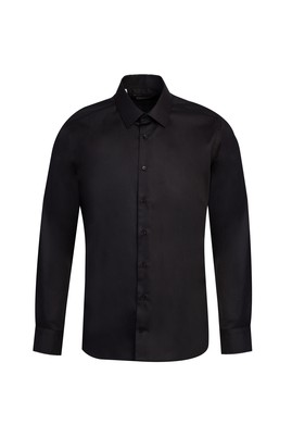 Erkek Giyim - SİYAH M Beden Uzun Kol Non Iron Slim Fit Gömlek