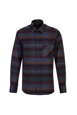 Erkek Giyim - KOYU MAVİ L Beden Uzun Kol Ekose Oduncu Gömlek