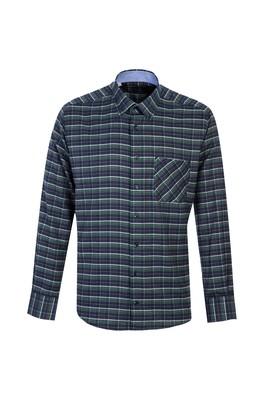 Erkek Giyim - KOYU YEŞİL L Beden Uzun Kol Regular Fit Ekose Oduncu Gömlek