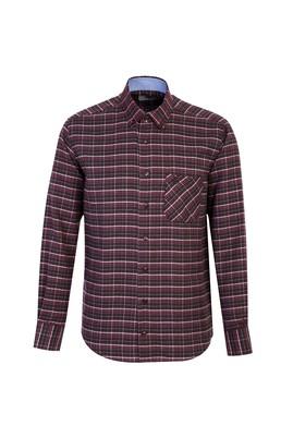 Erkek Giyim - ŞARAP BORDO L Beden Uzun Kol Regular Fit Ekose Oduncu Gömlek