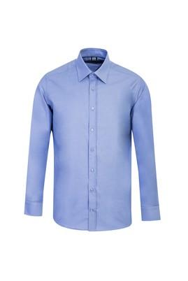 Erkek Giyim - MAVİ L Beden Uzun Kol Oxford Slim Fit Gömlek