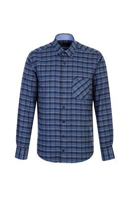 Erkek Giyim - AÇIK LACİVERT L Beden Uzun Kol Regular Fit Ekose Oduncu Gömlek