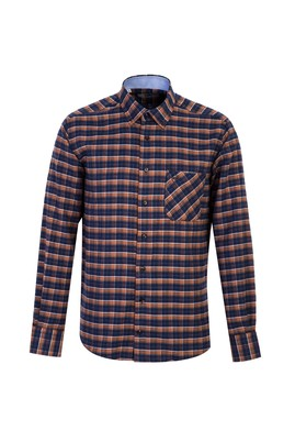 Erkek Giyim - ORTA TURUNCU M Beden Uzun Kol Regular Fit Ekose Oduncu Gömlek