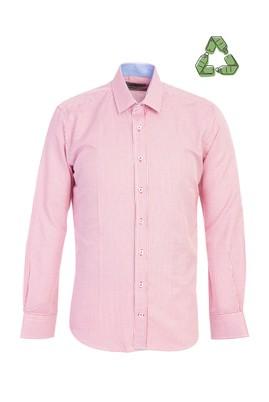 Erkek Giyim - AÇIK KIRMIZI L Beden Slim Fit Recycled Gömlek