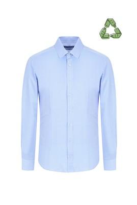 Erkek Giyim - AÇIK MAVİ XL Beden Slim Fit Recycled Gömlek