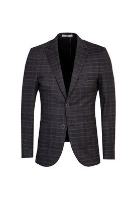 Erkek Giyim - KOYU ANTRASİT 46 Beden Desenli Klasik Ceket