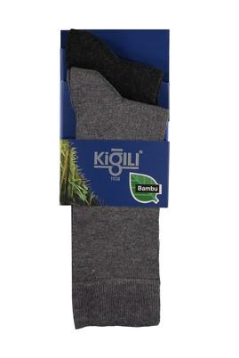 Erkek Giyim - AÇIK ANTRASİT 39-41 Beden 2'li Düz Bambu Çorap